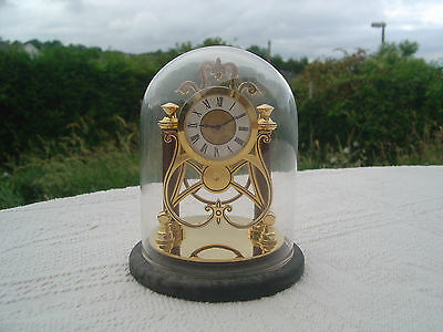 "Franklin Mint Reproduction Antique Skeleton Clock With Glass Dome - 4"" High"