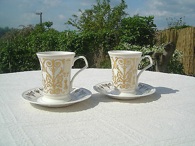 Two Dunoon Cellini Mugs With Saucers - New / Unused - Gilt Decoration