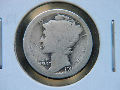 1916-D 10C Mercury Winged Liberty Dime Rare Key Date Denver Obverse Dig RAW