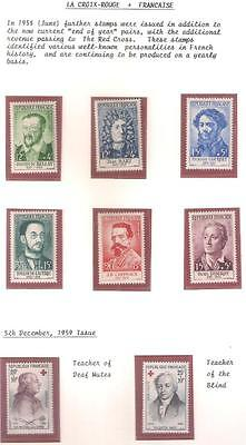 14145 FRANCE Jun 1958 RED CROSS set 6 + Dec pair