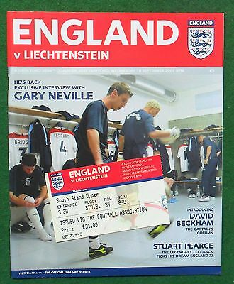 Football Programme plus Ticket>ENGLAND v LIECHTENSTEIN Sept 2003 ECQR
