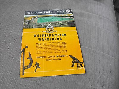 WOLVERHAMPTON WANDERERS v CARDIFF CITY 8/10/60, DIVISION 1