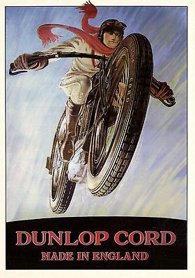 modern size  motorcycle artis advertising DUNLOP CORD  postcard 4.1 X 5.8 inches