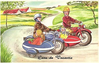2  motorcycle sidecar couples vacation artist postcard Ca 1950's