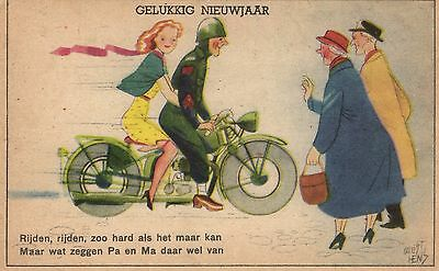 soldier with girl on motorcycle artist signed postcard