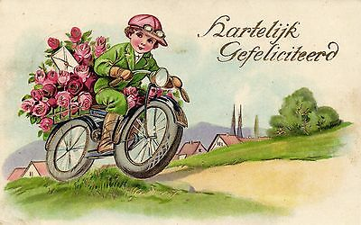 boy riding motorcycle with flowers presen vintage artist postcard 1934