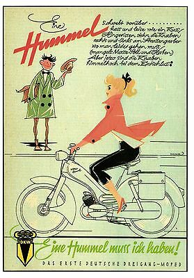 modern size  motorcycle moped  advertising HUMMEL  postcard 4.1 X 5.8 inches