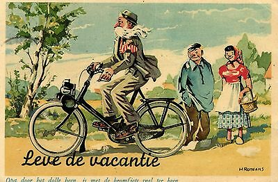 Solex moped motorcycle  H. Rotmans old signed artist postcard