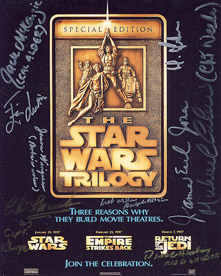 •Sale• Star Wars Collector Card 10x8 Multi Signed by 9 incl James Earl Jones
