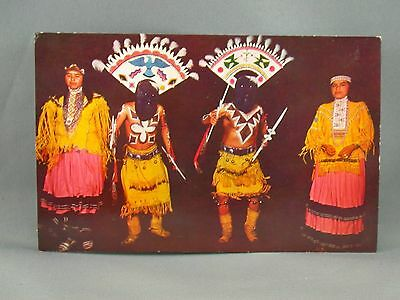 Apache Indian Devil Dance Nativa American Costume Dress Postcard