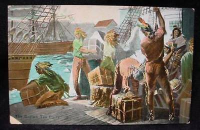 Boston Tea Party Postcard Men Dressed as Native Indians
