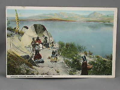Apache Indians Roosevelt Lake Arizona Postcard Native American