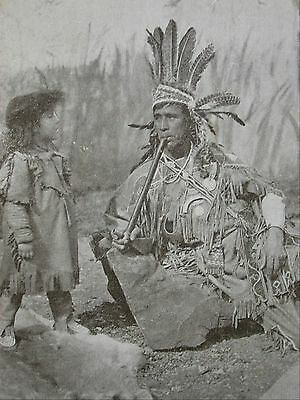 Postcard Native American Indian Chief Smoking Peace pipe Gall & Polden Photo