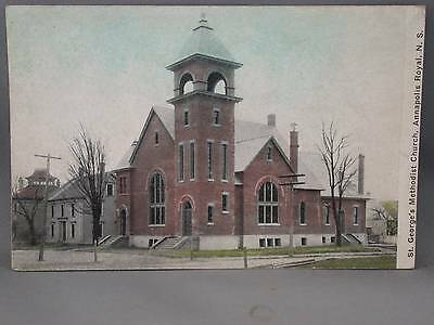St. George Methodist Church Postcard Dirt Road Hitching Posts Annapolis Royal NS
