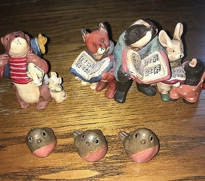 Bear & Me Otter With Mouse Wf008 Animal Row Woodland Chorus Wf014. & 3 Robins.