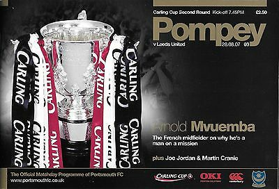 Football Programme>PORTSMOUTH v LEEDS UNITED Aug 2007 Carling Cup