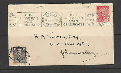 Southern Rhodesia 1929 Cover to Johannesbury wth 1d & 2d Admiral, Bulawayo cds w