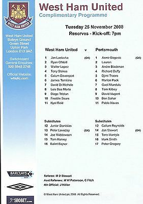 Football Programme>WEST HAM UNITED RESERVES v PORTSMOUTH RESERVES Nov 2008