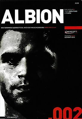Football Programme WEST BROMWICH ALBION v BRENTFORD Aug 2003 Carling Cup