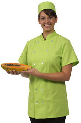 12 Button Front 2XL Female Fitted Lime Uniform S/S Chef Coat Jacket New