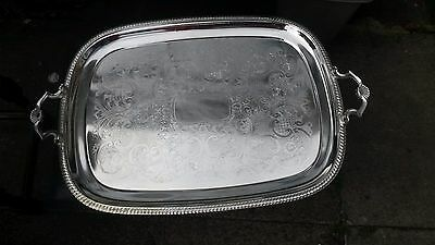 Large silver coloured tray with handles
