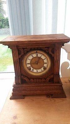 Large Wooden mantel clock with enamel dial. Not working