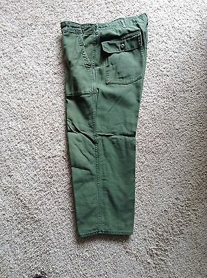 US Army Vietnam War 1976 Cotton Sateen OG 107 Fatigue Utility Pants 38 X 29