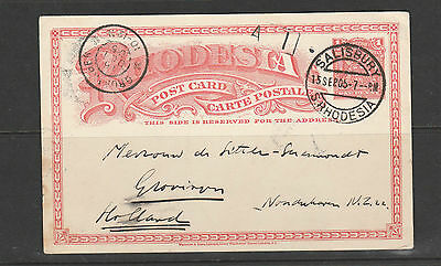 Southern Rhodesia 1906 Pre paid card to Holland, salisbury cds