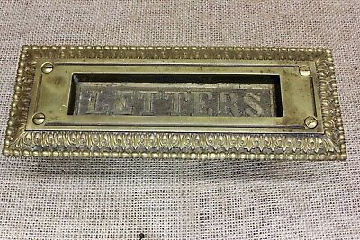 Letter Slot solid cast BRASS old antique vintage fancy decorated spring close