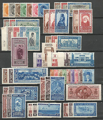 Egypt Nice collection of 59 stamps, most in complete sets MH/* 1923-1938