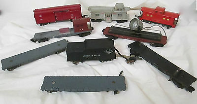 9 Piece American Flyer S Scale Lot 630 Reading Caboose 633 Box Car Flat Cars Etc