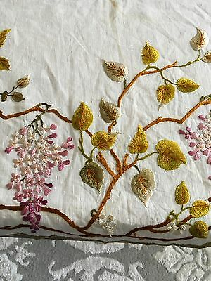 Gorgeous Antique Society Silk Oval Table Runner Hand Embroidered Wisteria