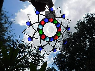 Leaded Stained Glass Sun Catcher  Flower Hanging  clear and  frosted  #31