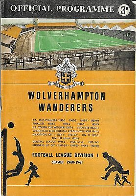 Football Programme>WOLVES v TIFLIS DYNAMO Nov 1960 Friendly