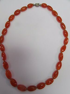 Vintage Chinese Carnelian Necklace With Sterling Silver Clasp