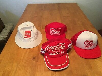 Lot Of 4 Vintage Coca Cola Hats Crusher Snap