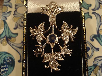 Beautiful  Antique Art Nouveau; Sapphire Gemstone Set Silver Dress Clip/Brooch