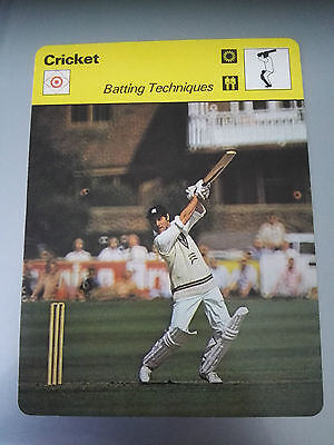 CRICKET - MIKE BREARLEY / BATTING TECHNIQUES - Sportscaster Photo Fact Card