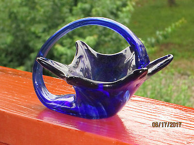 Cobault Blue Stretch Glass Floral Candy Dish