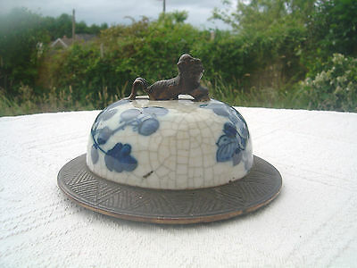 Large Antique Chinese Porcelain Pot Lid - Vase / Jar - Kylin Finial