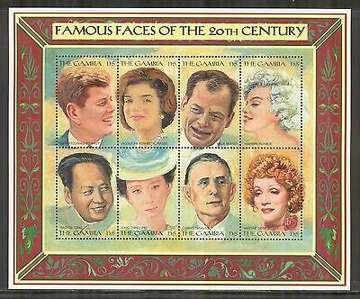 Gambia #1805, 1996 Famous Faces of the 20th Century, Sheet of 8 Stamps Unused NH