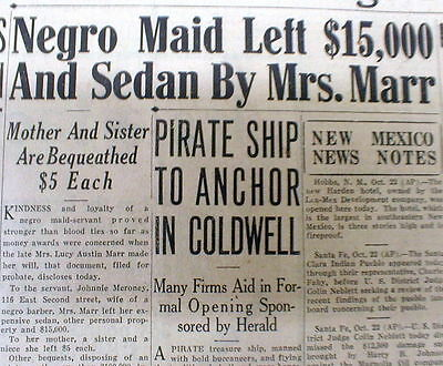 1930 newspaper Wealthy White TEXAS WOMAN leaves her fortune to her NEGRO MAID