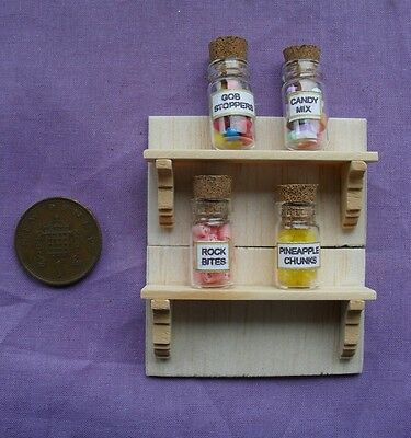 DOLLS HOUSE 1/12th SCALE PAIR OF  WOODEN SHELVES  WITH BACK BOARD