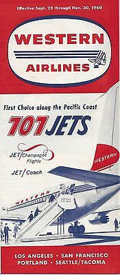 Western Airlines Timetable - 707 Jets - Effective 9-25 to 11-30 1960 - 24 Panels