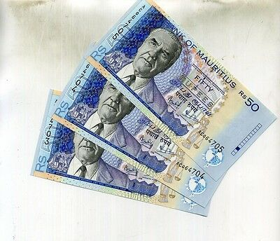 1999 Mauritius 50 Rupees 3 Currency Consecutive Notes Choice Cu 8463D