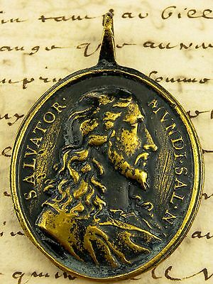 Spanish Colonial Jesus & Virgin Mary Vatican Pilgrimage 17th c. Bronze Medal