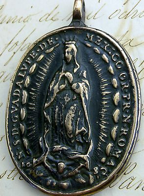 Antique 17th Century O.L. of Guadalupe & St. Michael Archangel DATED 1682 Medal