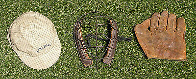 Circa 1910 Catcher's Mask, Baseball Cap & Glove, Antique Base Ball Vintage Youth