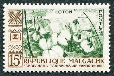MALAGASY REPUBLIC 1960 15f deep green and brown SG16 mint MH FG Cotton a #W32