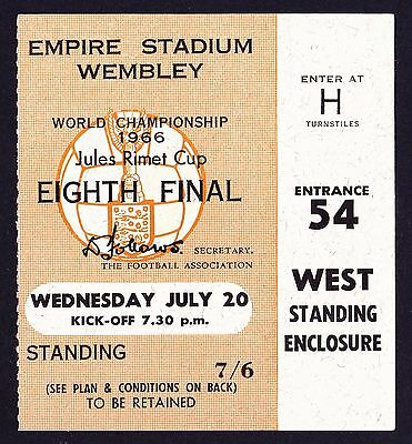 1966 World Cup ENGLAND v FRANCE *Excellent Condition Ticket*